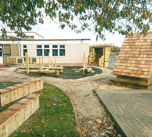 EYFS stage: rocky trail, path, sensory planting and benches